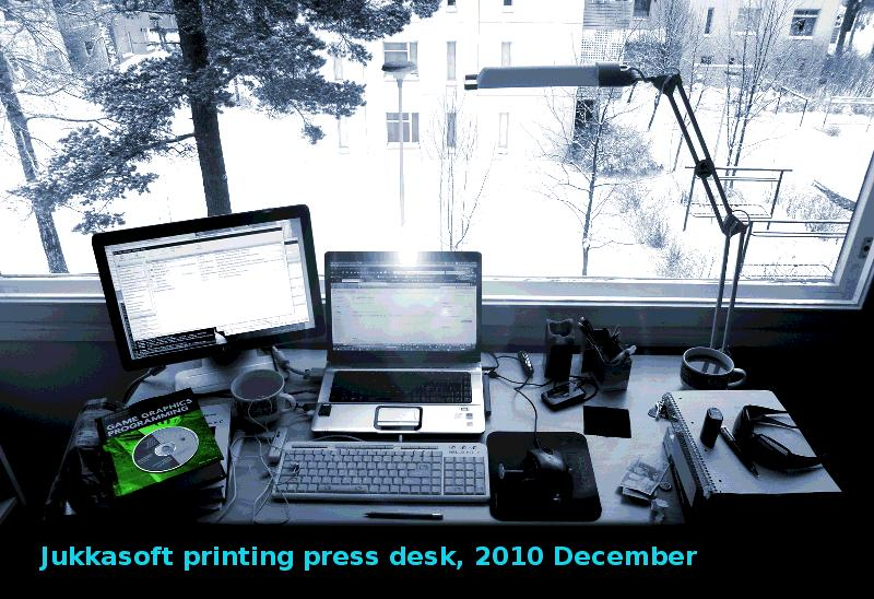 Desktop setup at Jukkasoft, 2010